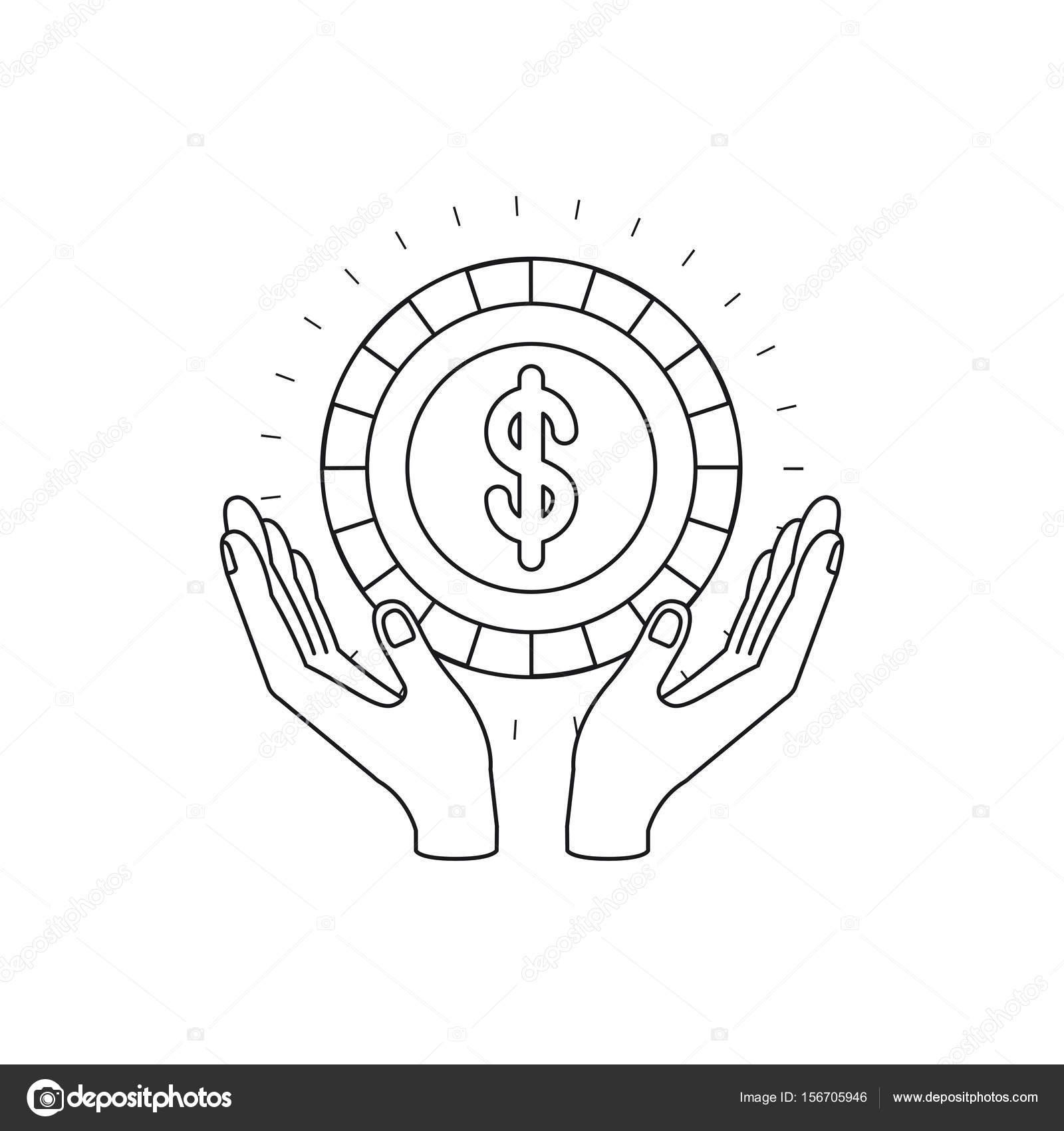 Imágenes Simbolo De Dolar Para Colorear Manos De Silueta Con