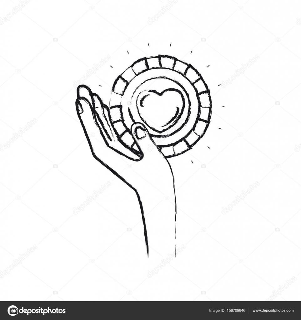 Verschwommene Silhouette Linke Hand Eine Munze Mit Herzform In