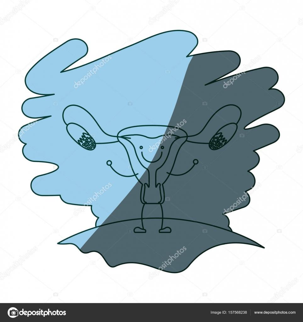 blaue Farbe Schattierung Szene Gras mit Silhouette Karikatur ...