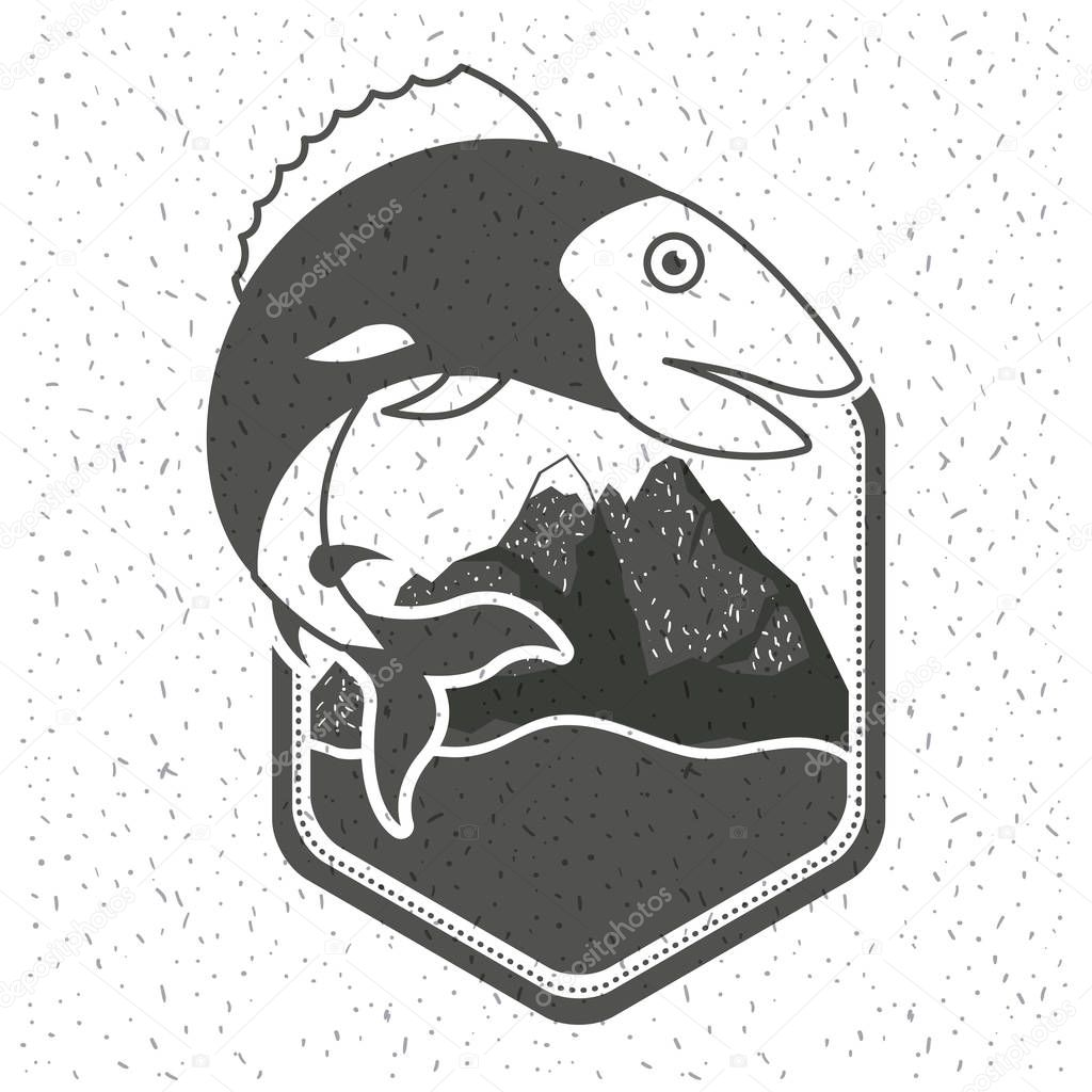 white background with sparkle of monochrome silhouette emblem with fish and mountains with river