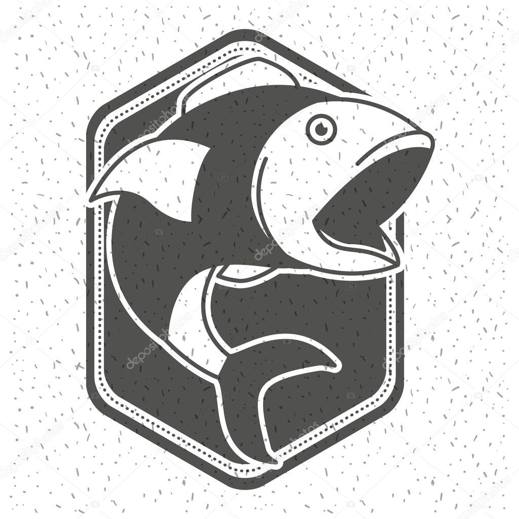 white background with sparkle of monochrome silhouette shield emblem with fish open big mouth