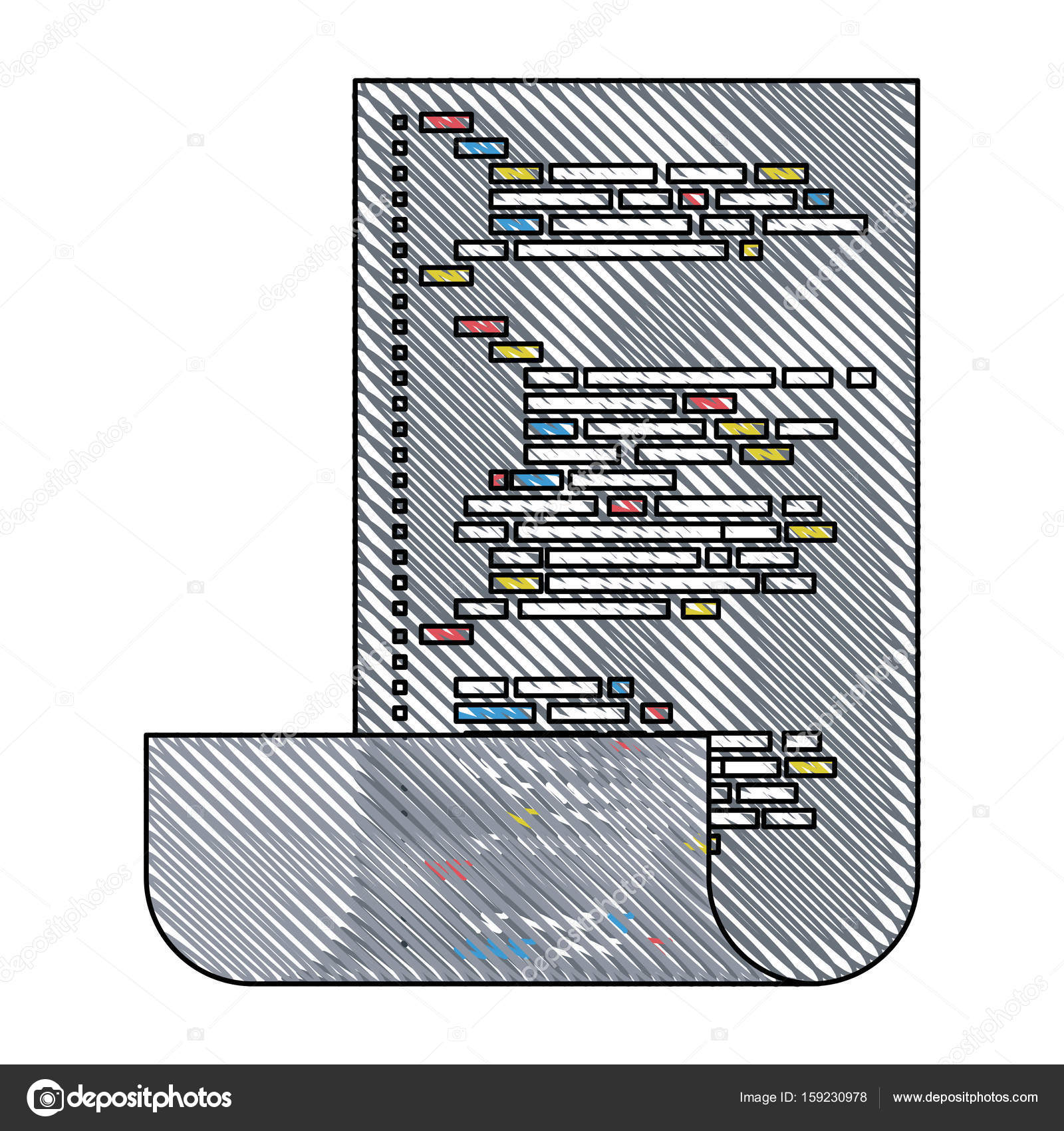 Colored Pencil Silhouette Gray Of Sheet With Printed Source Code