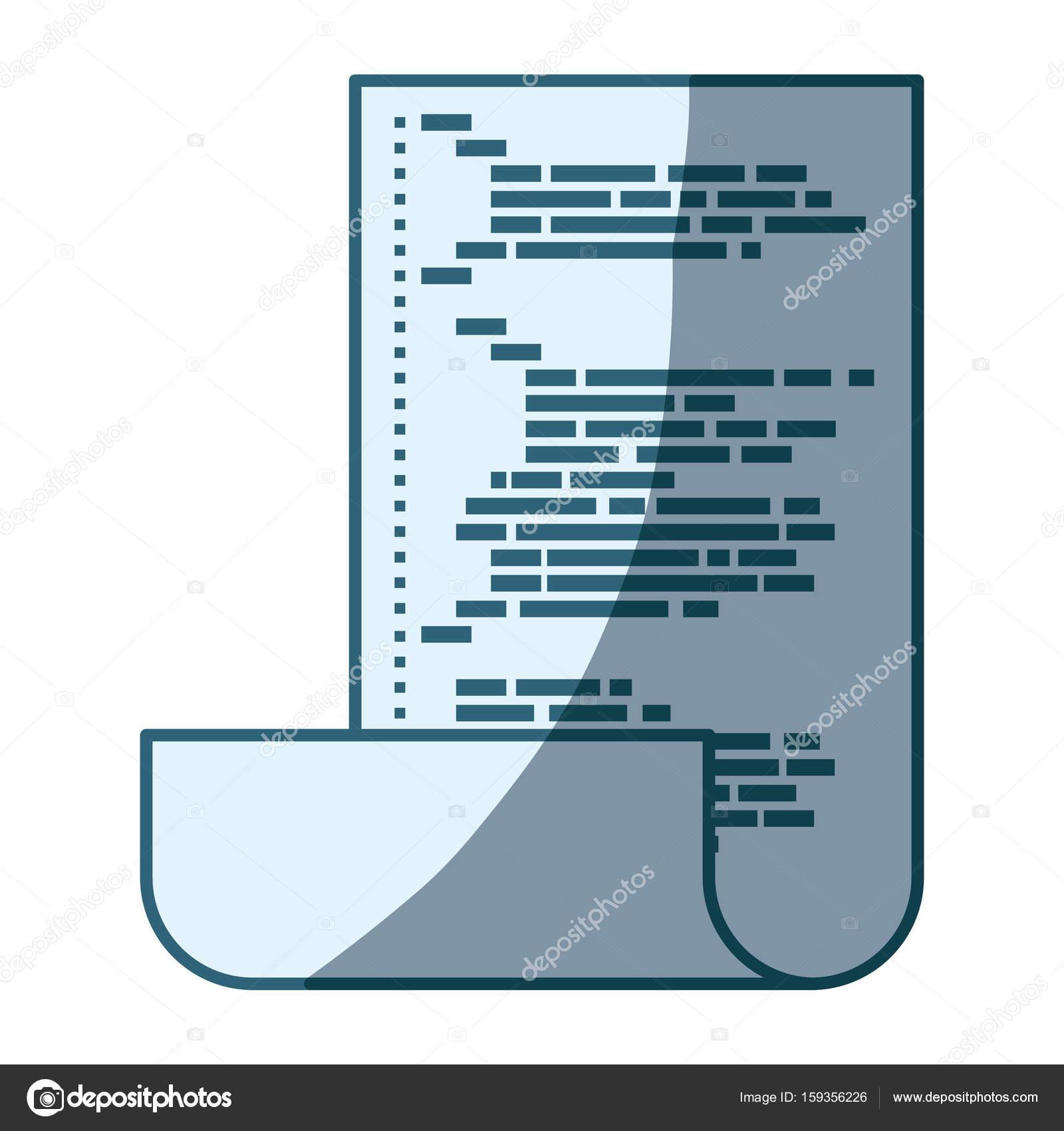 blaue Färbung Silhouette des Blattes mit gedruckten Quellcode ...