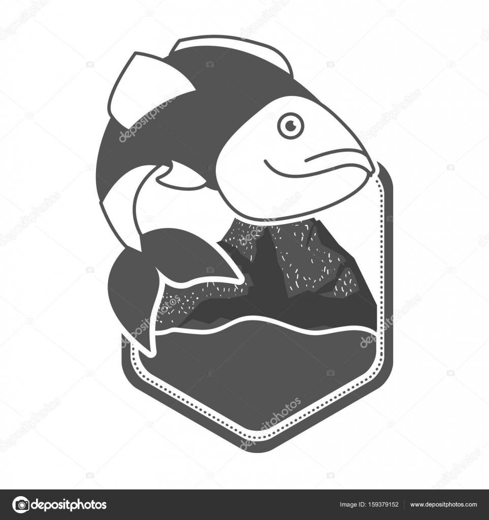 山にダイヤモンド形状のエンブレムとオオクチバスの魚と川の