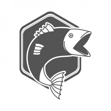 monochrome silhouette emblem with fish bigmouth
