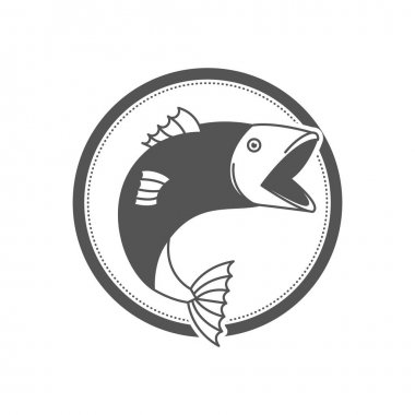 monochrome silhouette circular emblem with fish bigmouth