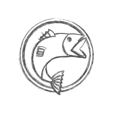 blurred sketch silhouette circular emblem with fish bigmouth