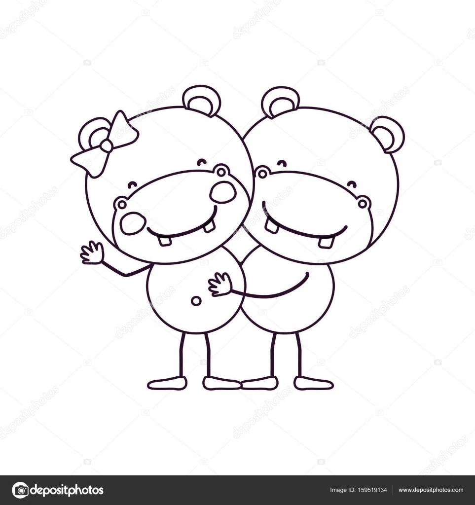 Niños Abrazados Caricatura Bosquejo Caricatura Contorno