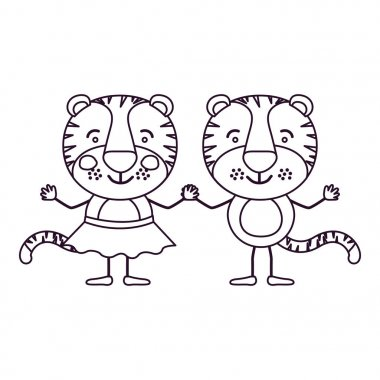 sketch contour caricature with couple of tigers holding hands