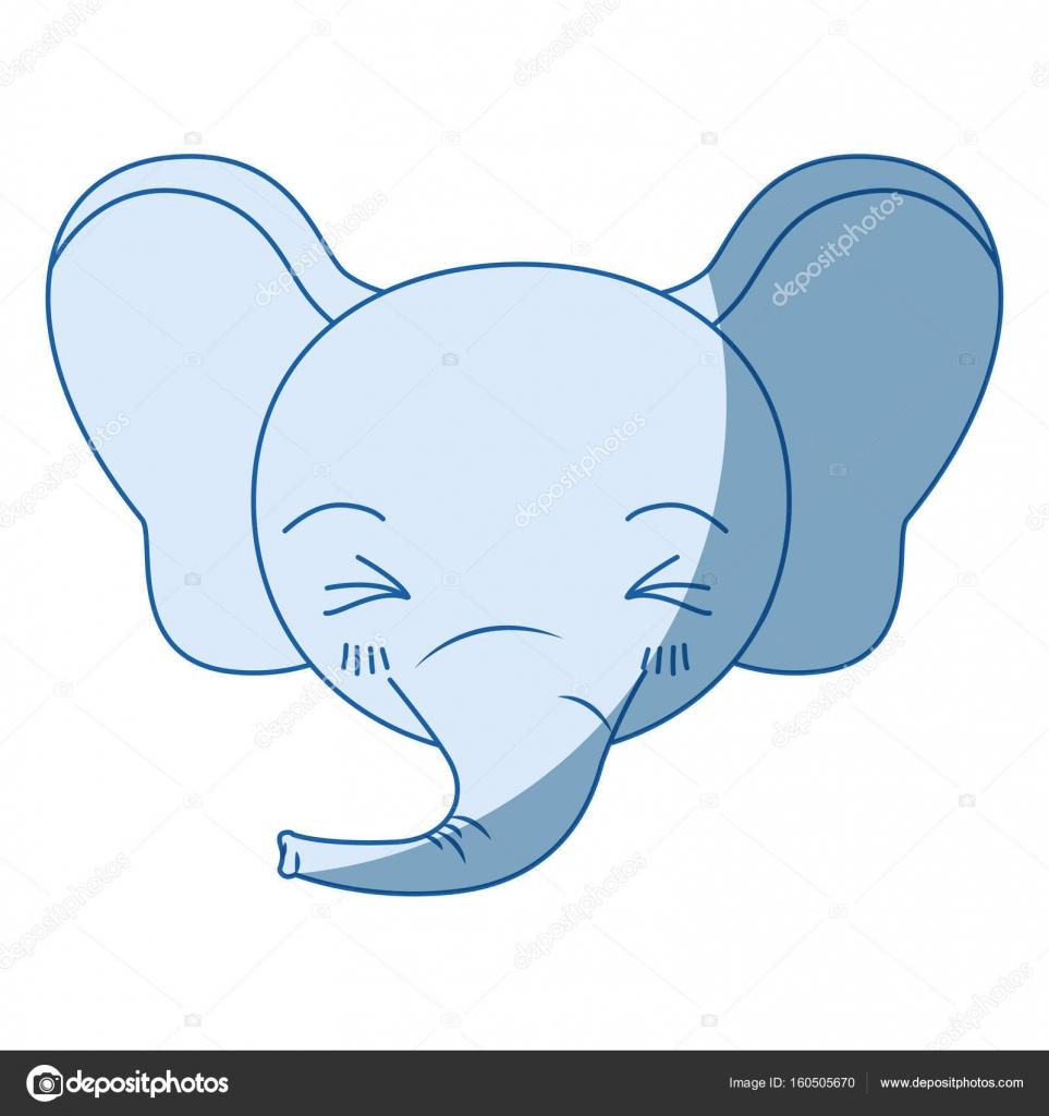 Viso carino di ombreggiatura sagoma dell 39 elefante di - Elefante foglio di colore dell elefante ...