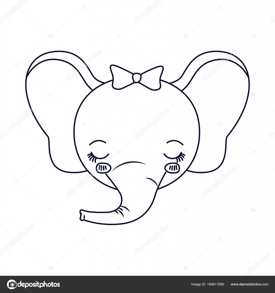 Sketch Silhouette Caricature Face Of Female Elephant Animal Eyes