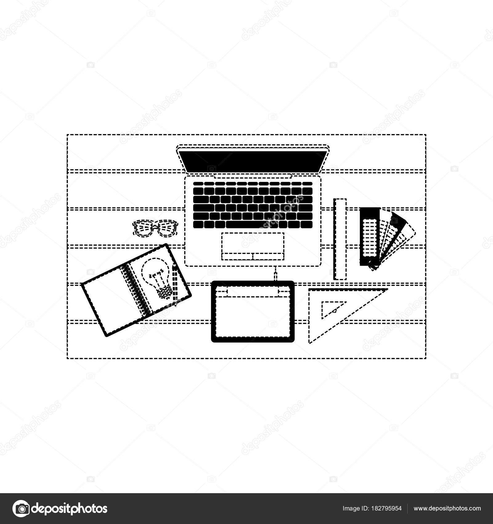 office drawing tools. laptop computer draw tool desk ruler tablet digitizer office school vector illustration \u2014 by grgroupstock drawing tools u