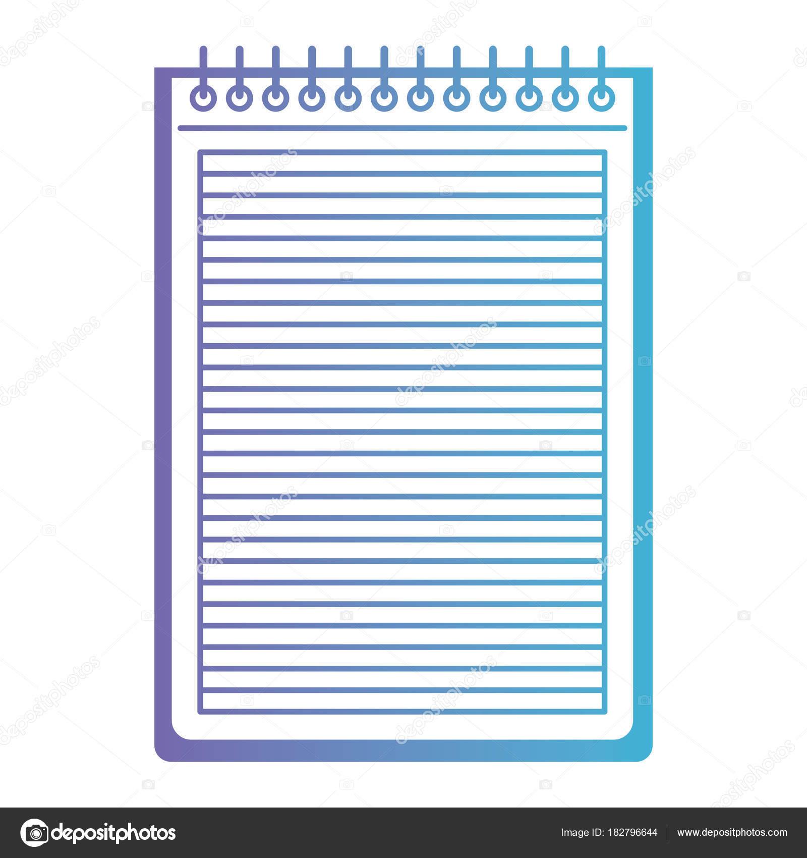 cuaderno con líneas horizontales y en espiral del metal en la parte ...
