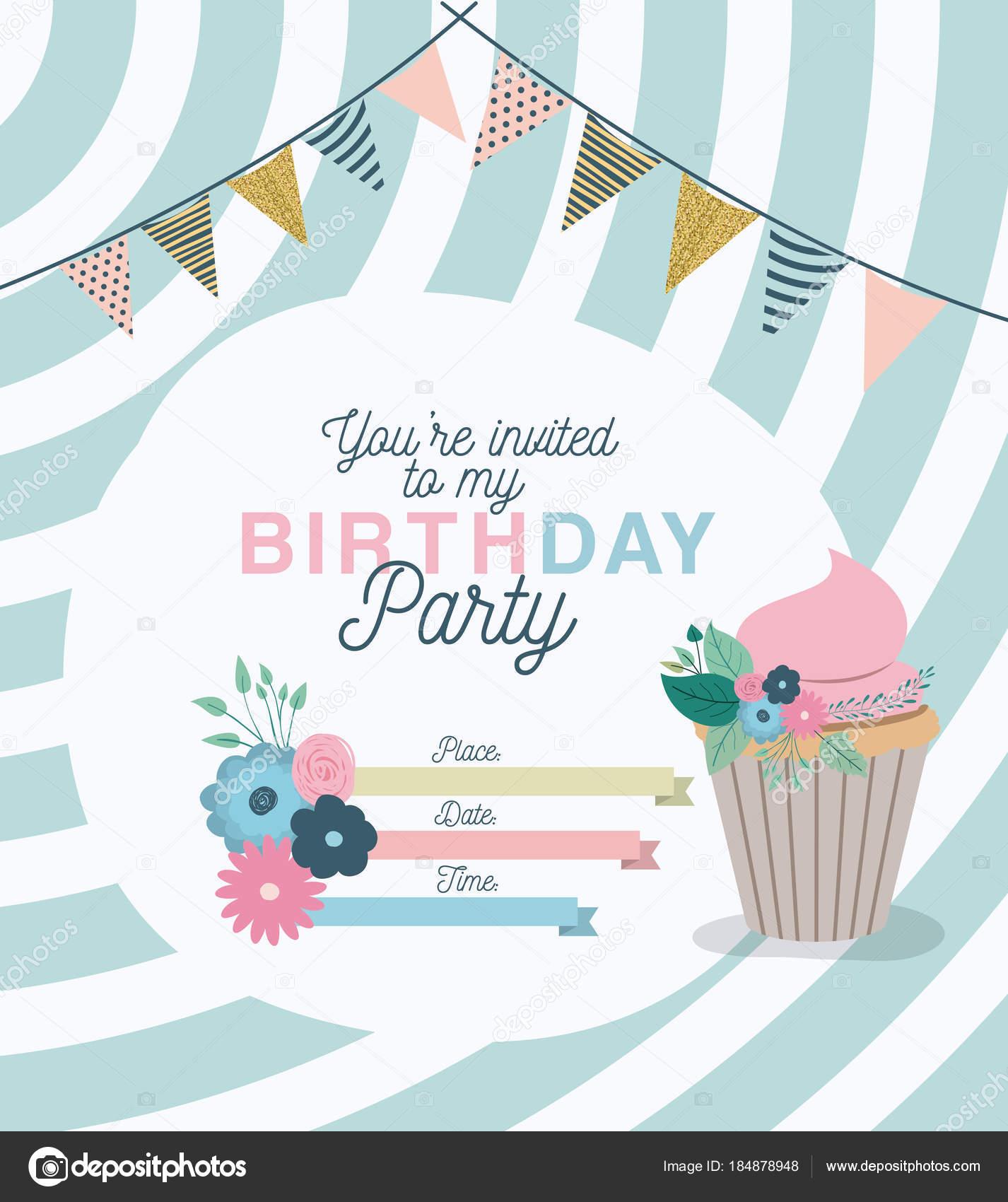 花飾りとケーキ誕生日パーティの招待状 ストックベクター