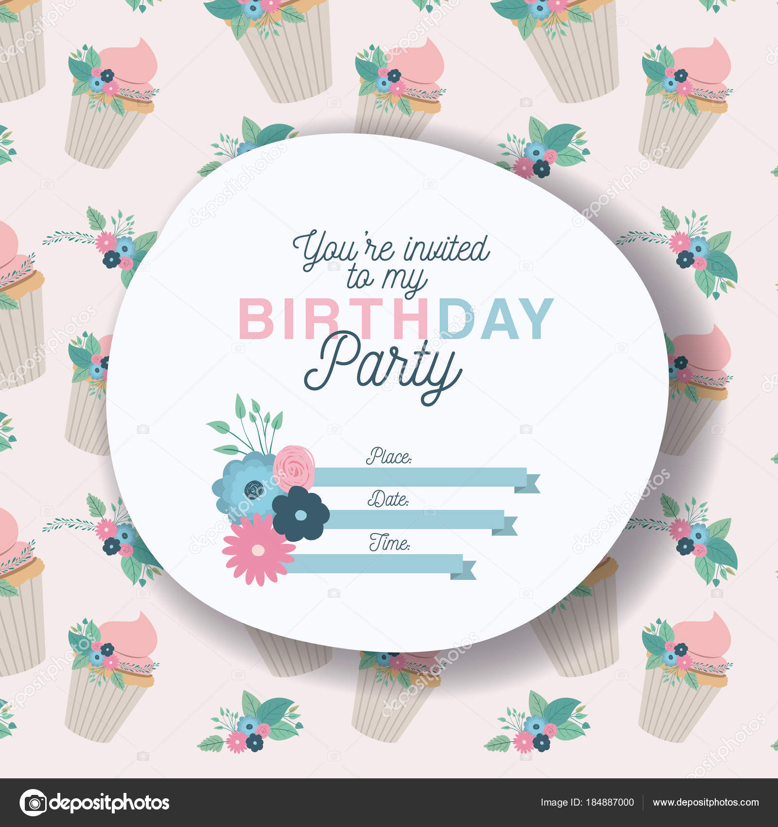 happy birthday party invitation with floral decoration and cupcake ...