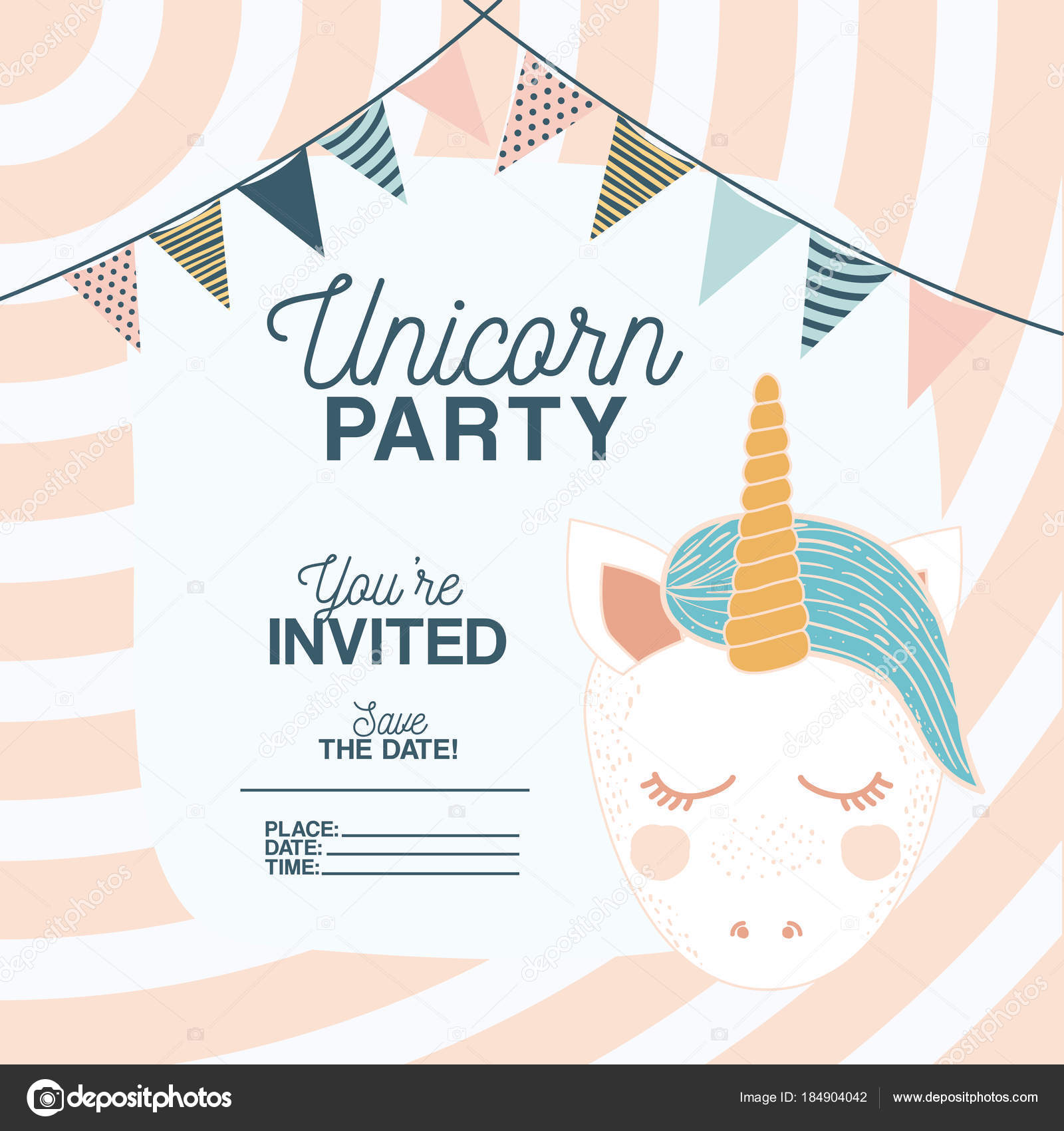 Unicorn party invitation card with floral decoration and garlands unicorn party invitation card with floral decoration and garlands vetor de stock stopboris Choice Image