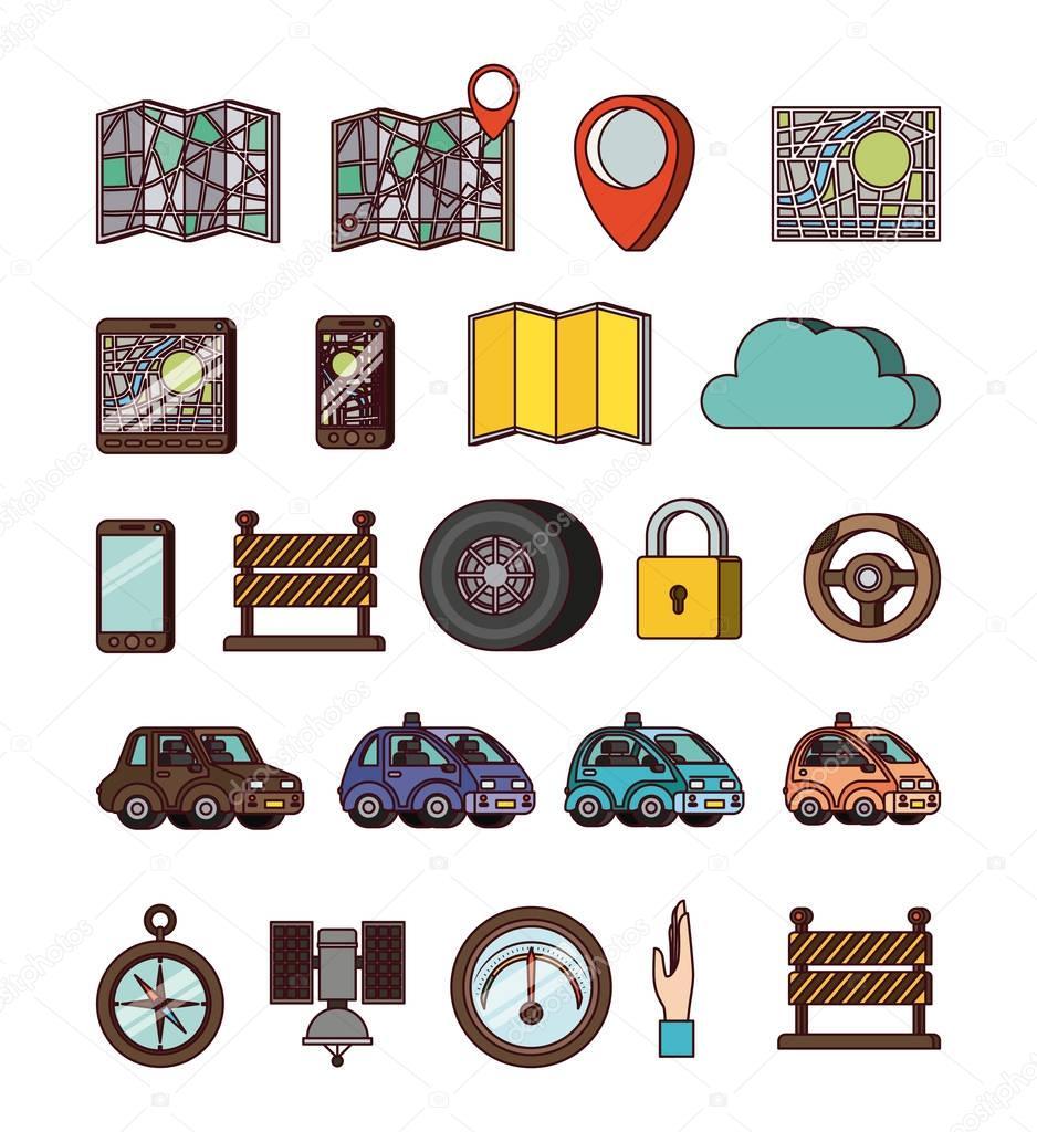 gps application set icons