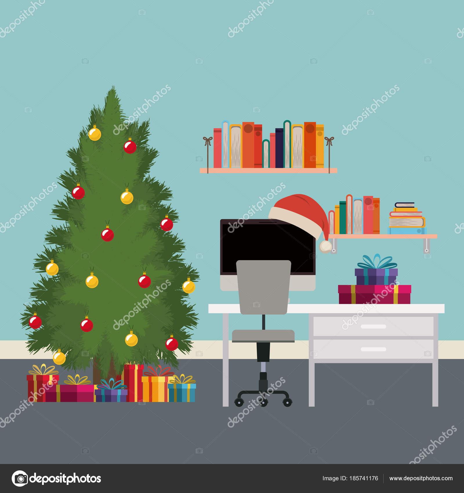 Weihnachten-Szene-Büro-Schreibtisch mit Baum und Geschenke ...