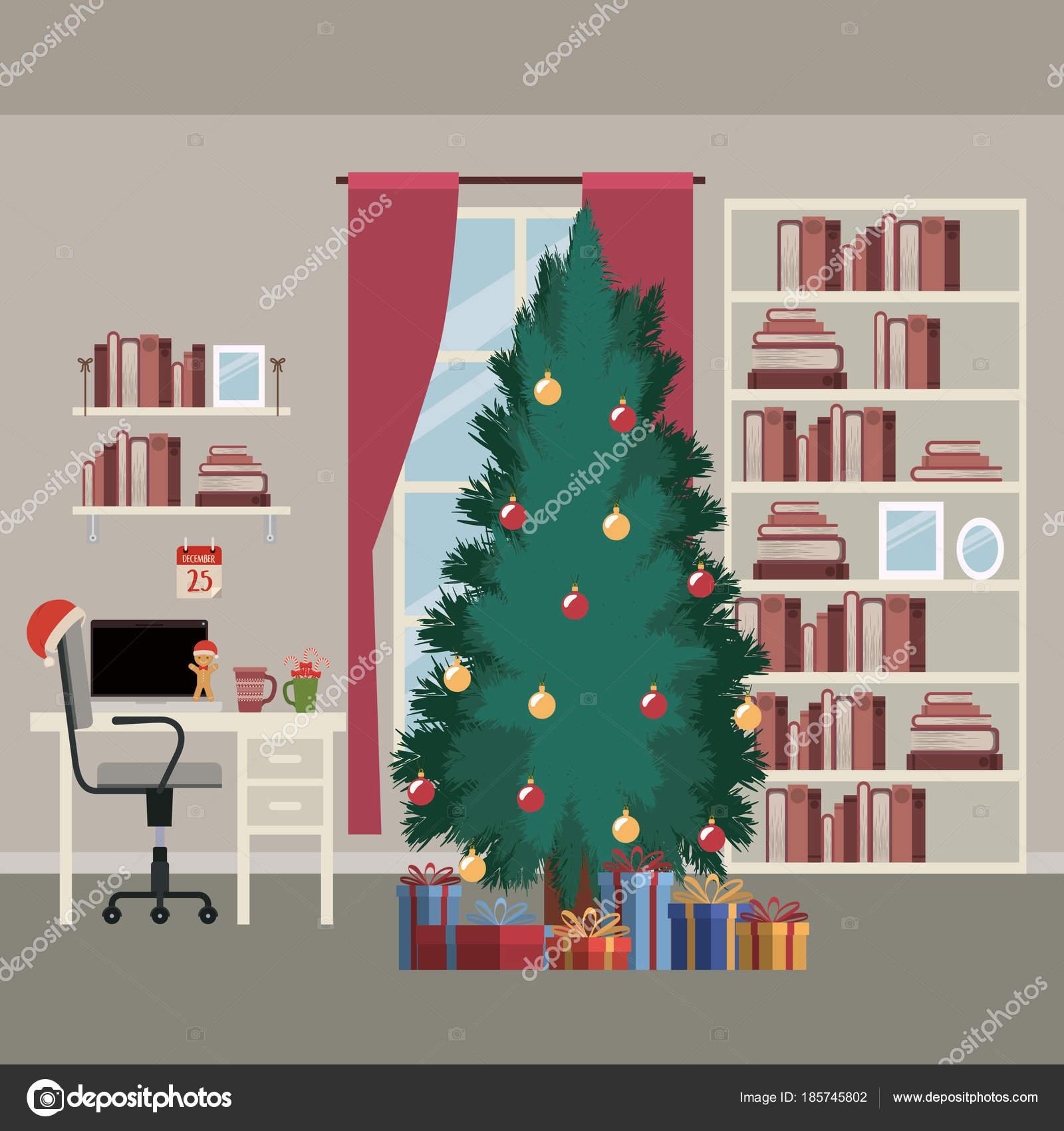 Illustrazione Desktop Albero Di Natale Scena Domestica Di Natale