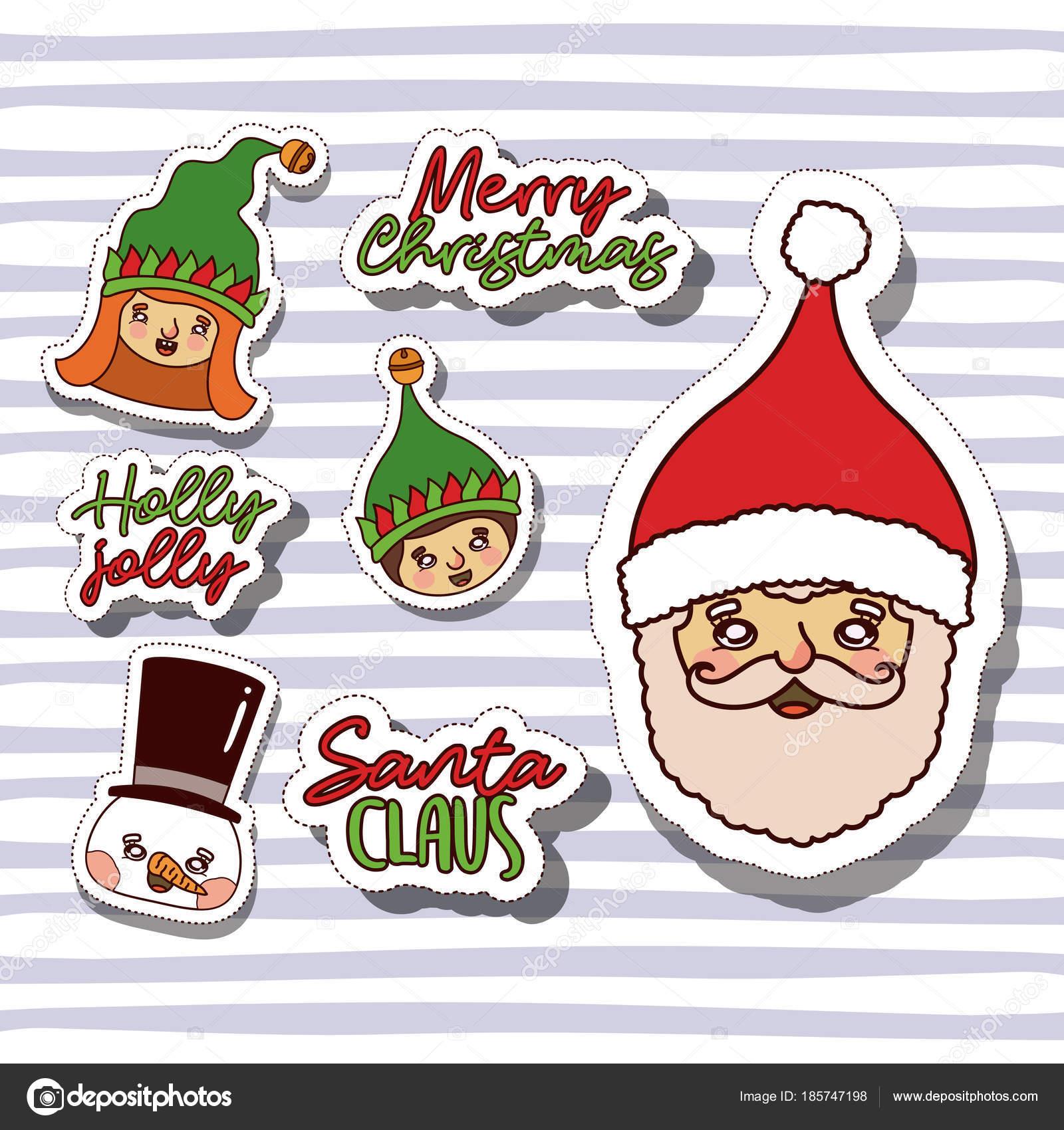 Adesivi Buon Natale.Illustrazione Gnomi Buon Natale Buon Natale Con Facce