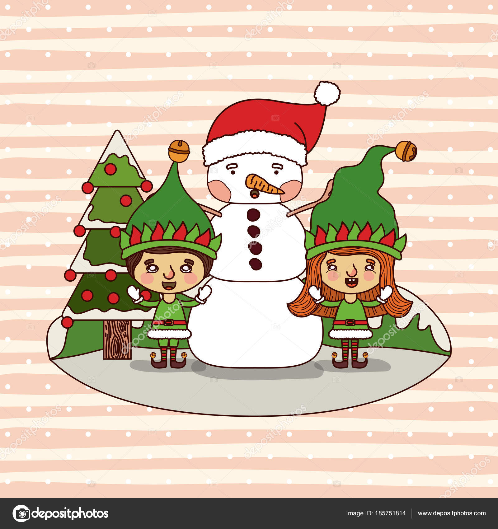 Colorful Christmas Background For Kids.Christmas Card With Christmas Tree And Gnome Kids And