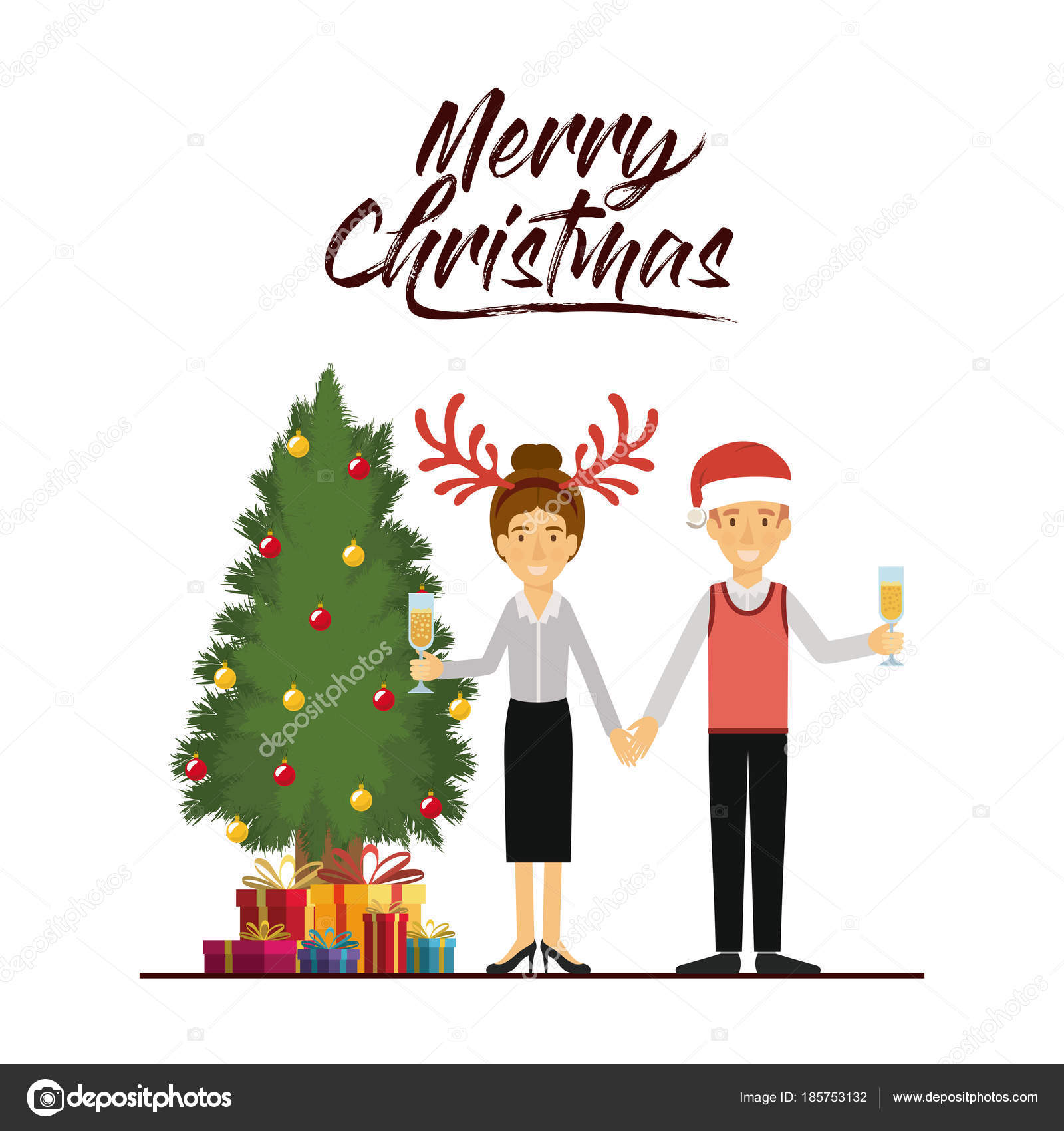 赤いクリスマス帽子トナカイ角クリスマス帽子と彼のギフトとツリーと彼女
