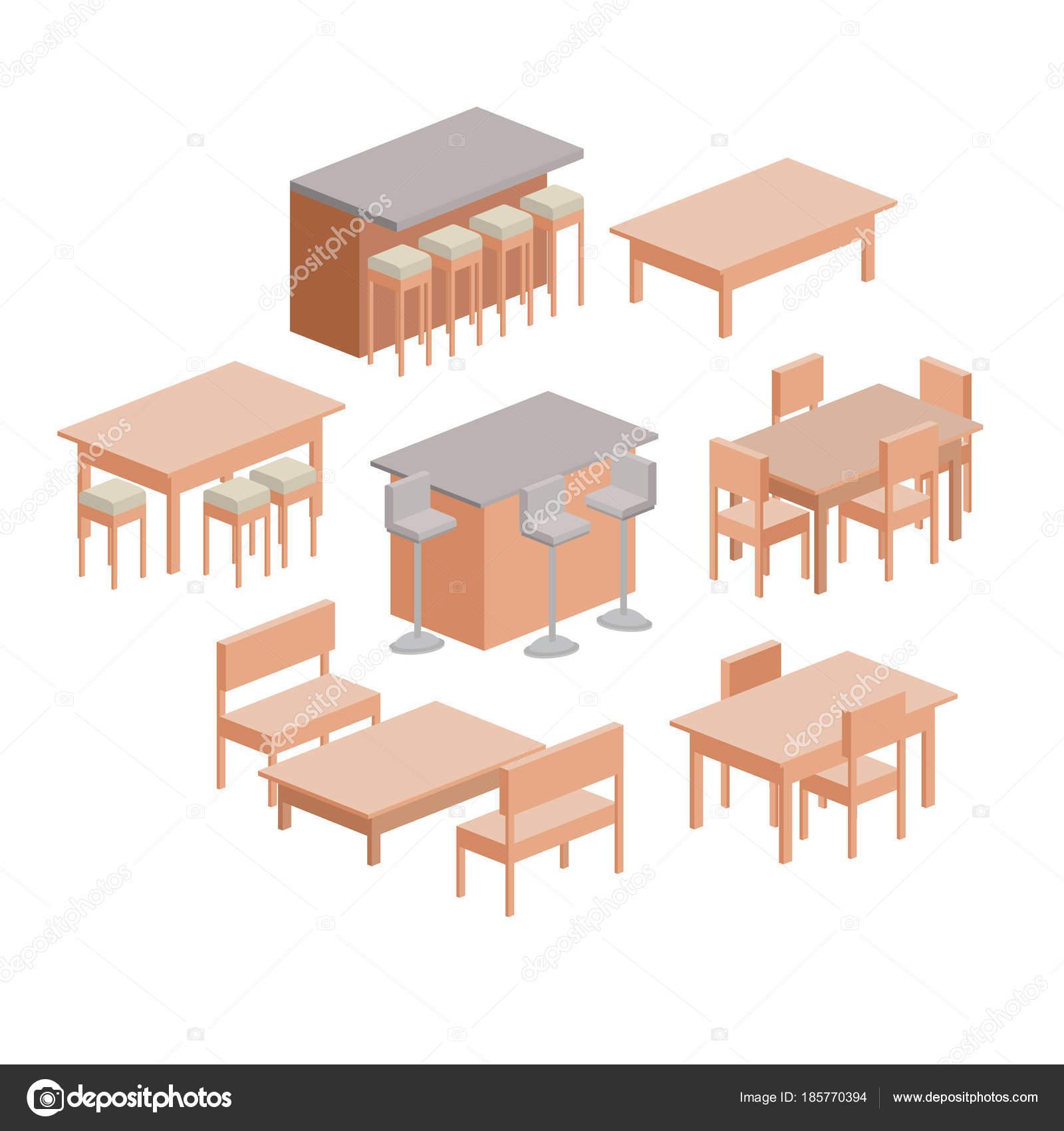 mobiliario comedor colorido silueta sobre fondo blanco — Vector de ...
