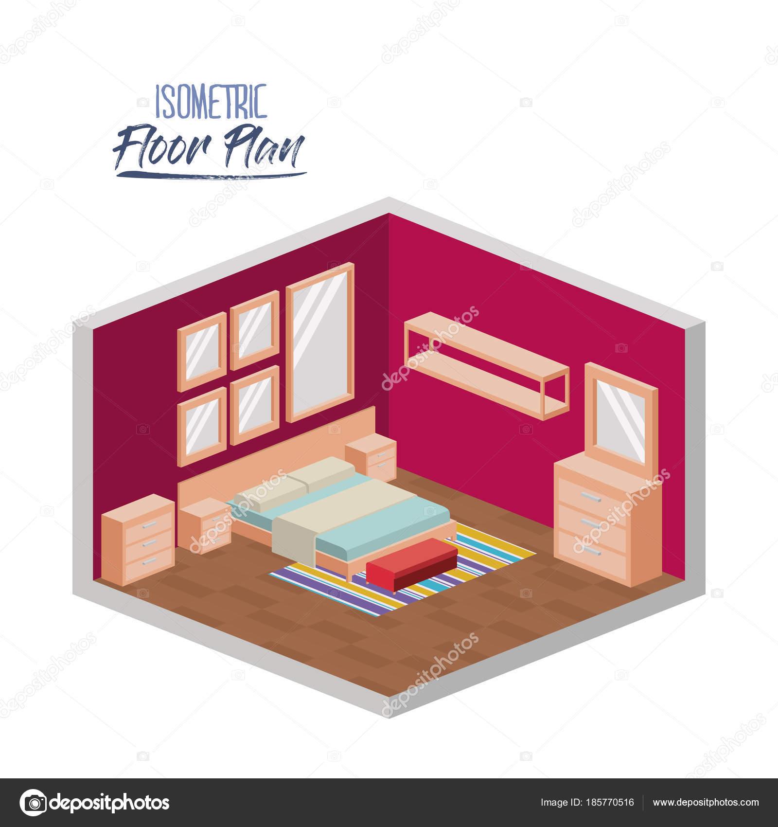 isometrische plattegrond van slaapkamer tweepersoonsbed en meubels ...