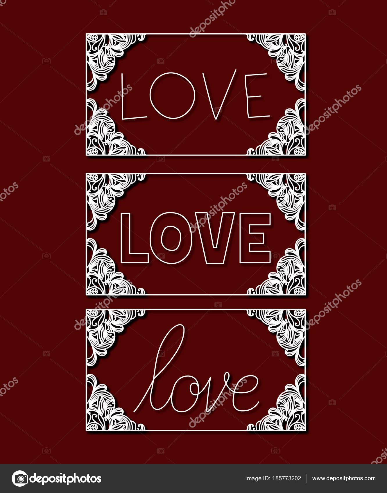 corte por láser de marcos rectangulares con floral frontera y amor ...