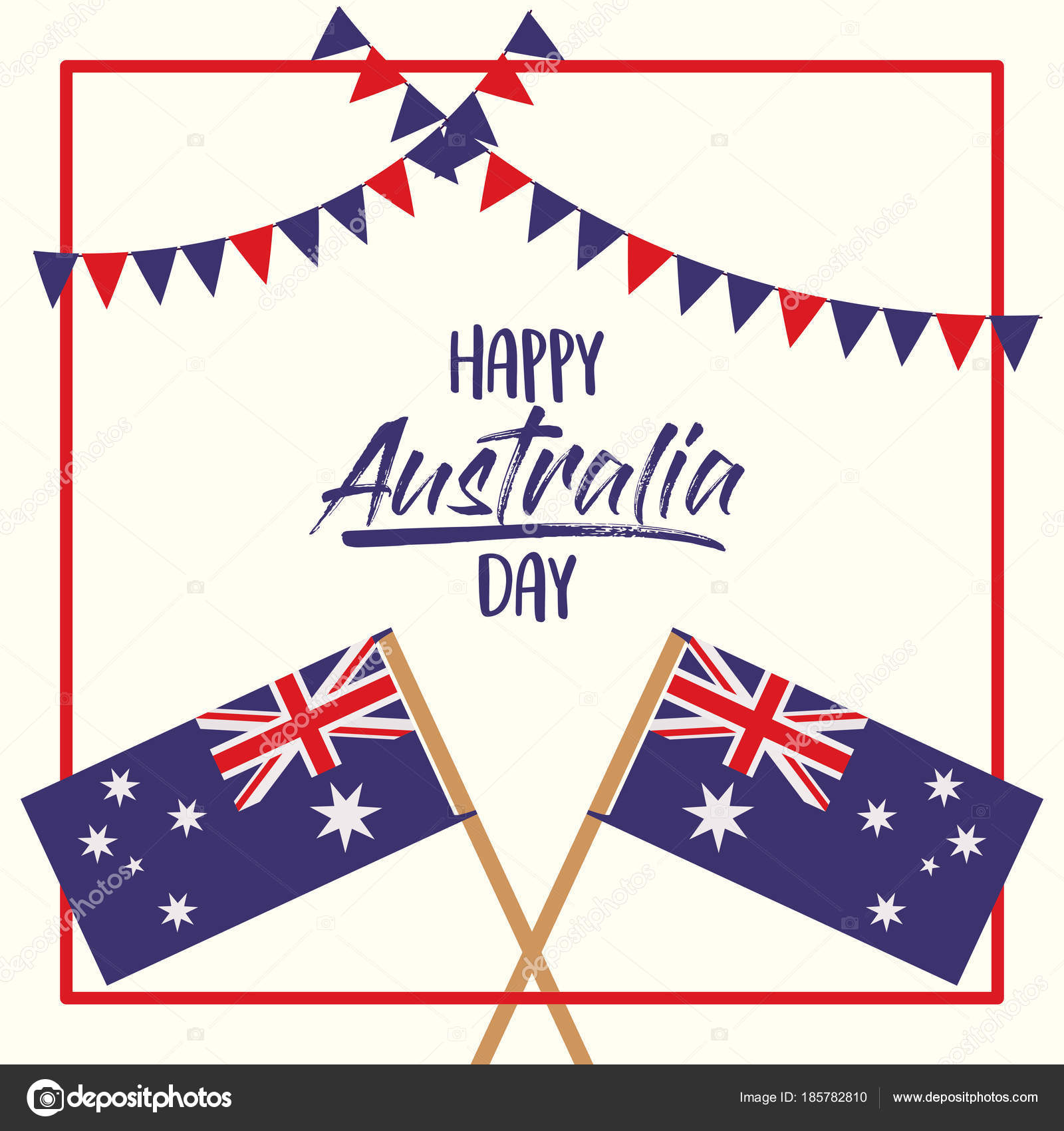 happy australia day poster with crossed flags australia over red ...
