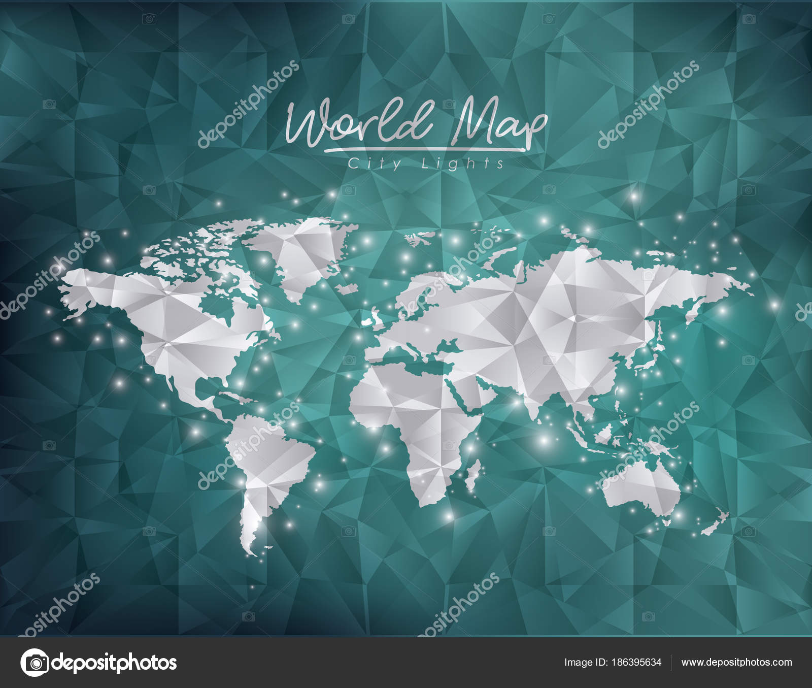 World map city lights in green degraded and polygon shape background world map city lights in green degraded and polygon shape background vector illustration vector by grgroupstock gumiabroncs Image collections