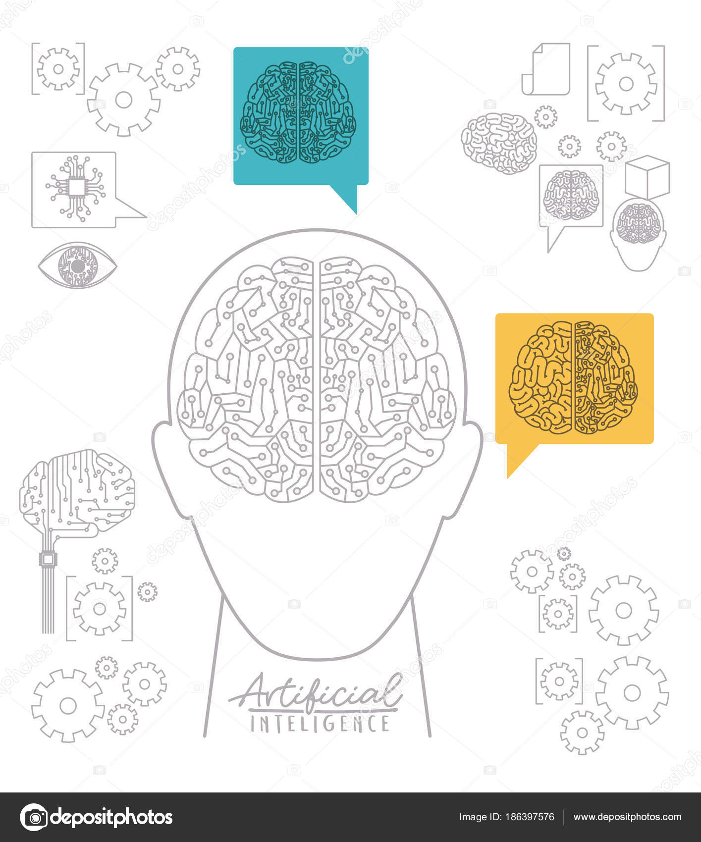 Artificial Intelligence Poster With Human Head Silhouette Front View Electronic Circuit Book In Shape Of Brain Over White Background Vector Illustration