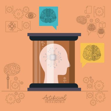 artificial intelligence poster with human head silhouette with microprocessor unit circuit brain in side view in transparent container in peach color background