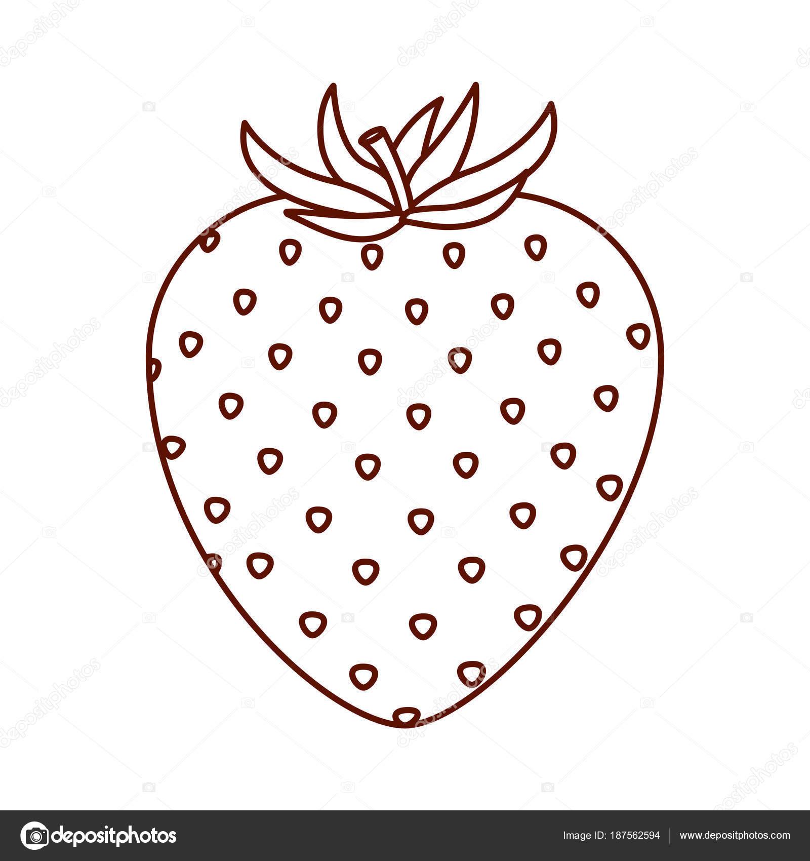 イチゴ果実のモノクロ シルエット ストックベクター Grgroupstock