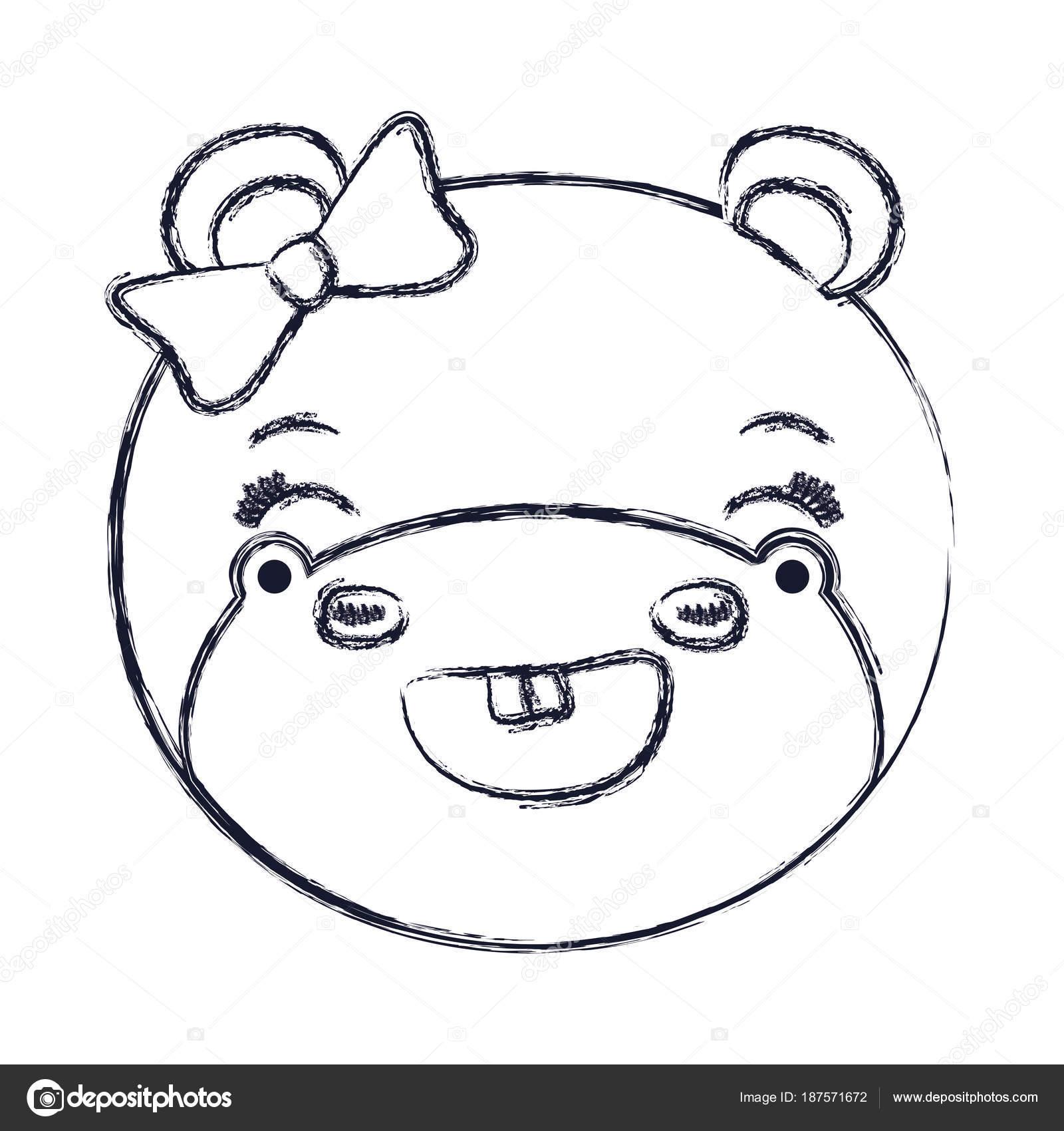 borrosa la cara de la silueta de mujer hipopótamo animal adorable ...