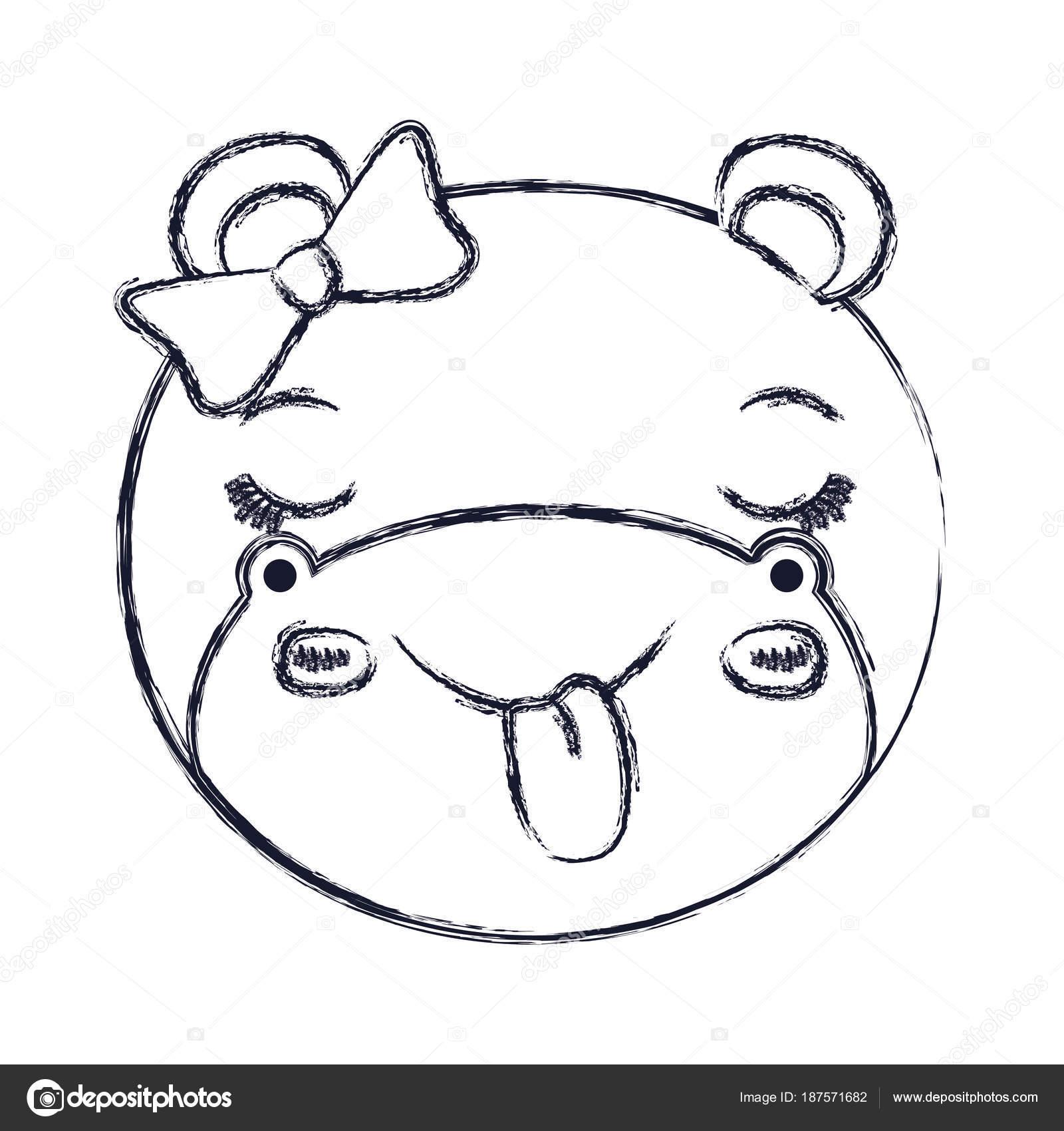 borrosa la cara de la silueta del animal hembra hipopótamo fuera ...