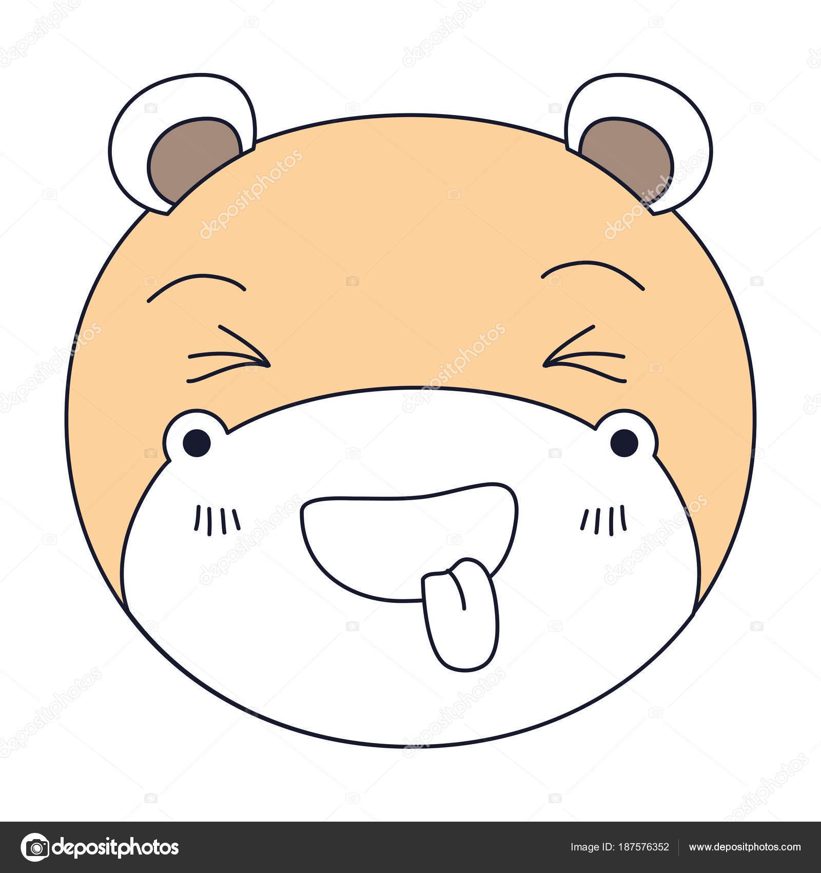 secciones de color de silueta de Linda cara de hipopótamo fuera ...