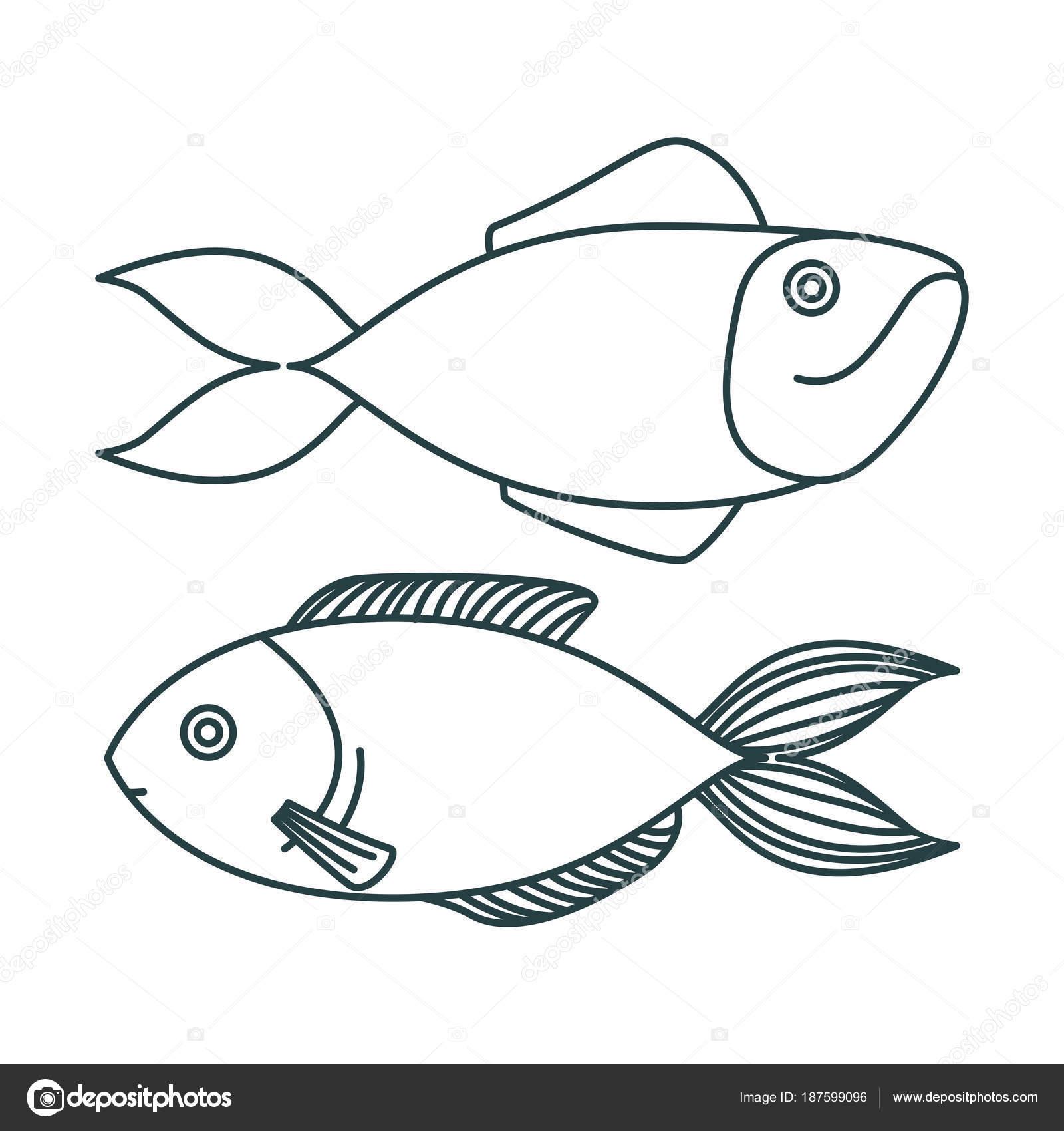 Imágenes: siluetas de peces para colorear   par de silueta de