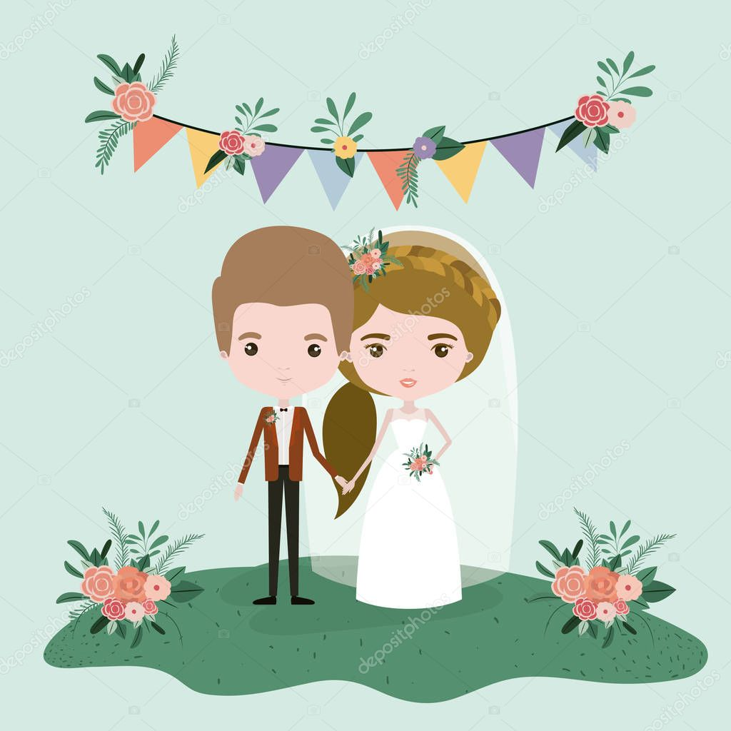 colorful scene with flags decorative and grass with floral ornaments with couple of just married