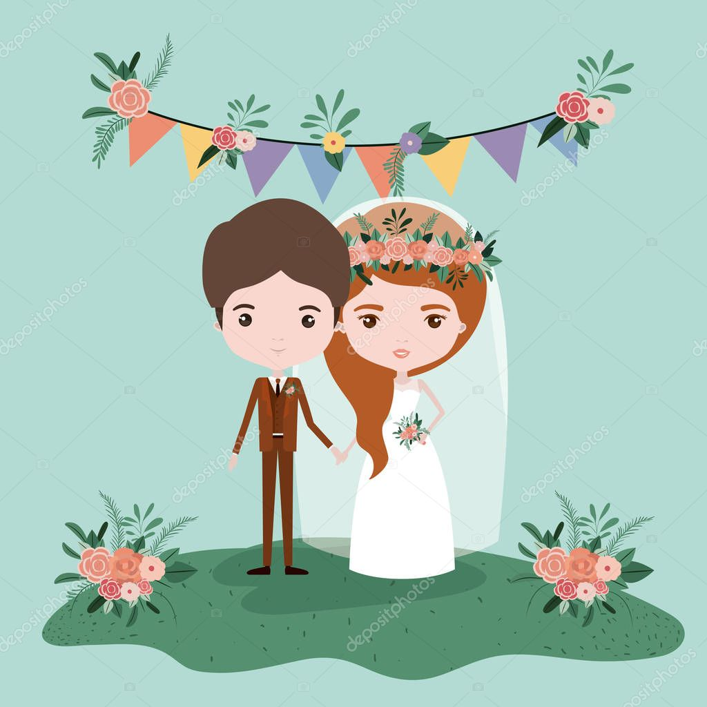 colorful scene with pennants decorative and grass with couple of just married under