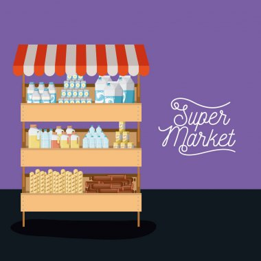 supermarket shelf colorful poster design with foods and beverages and sunshade