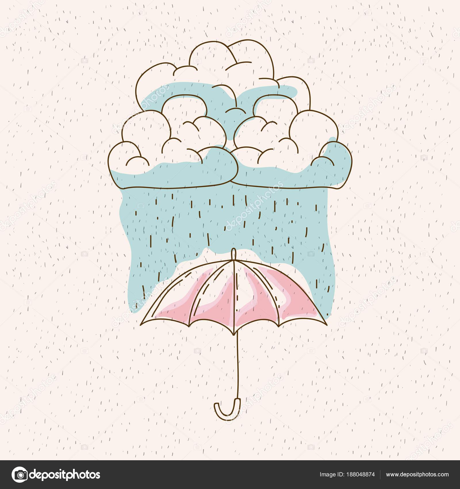 Sulu Boya Grafik Bulut Ve Yağmur şemsiye Stok Vektör
