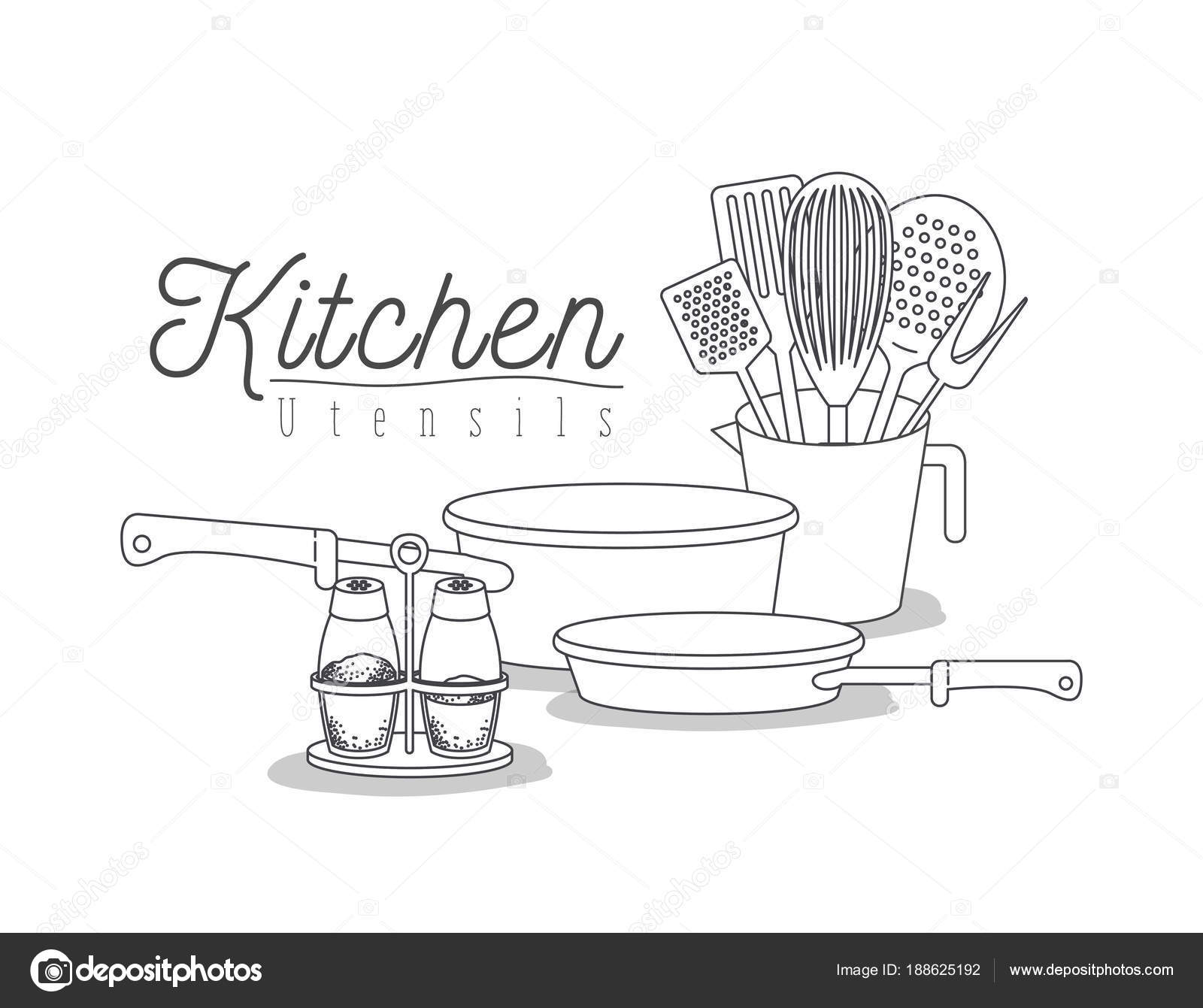 white background with set silhouette kitchen utensils — Stock Vector ...