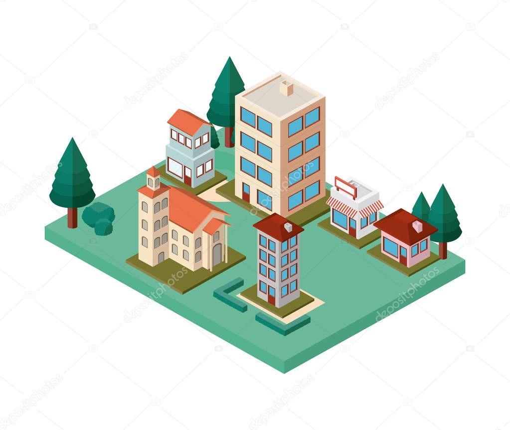 mini trees and buildings neighborhood isometric