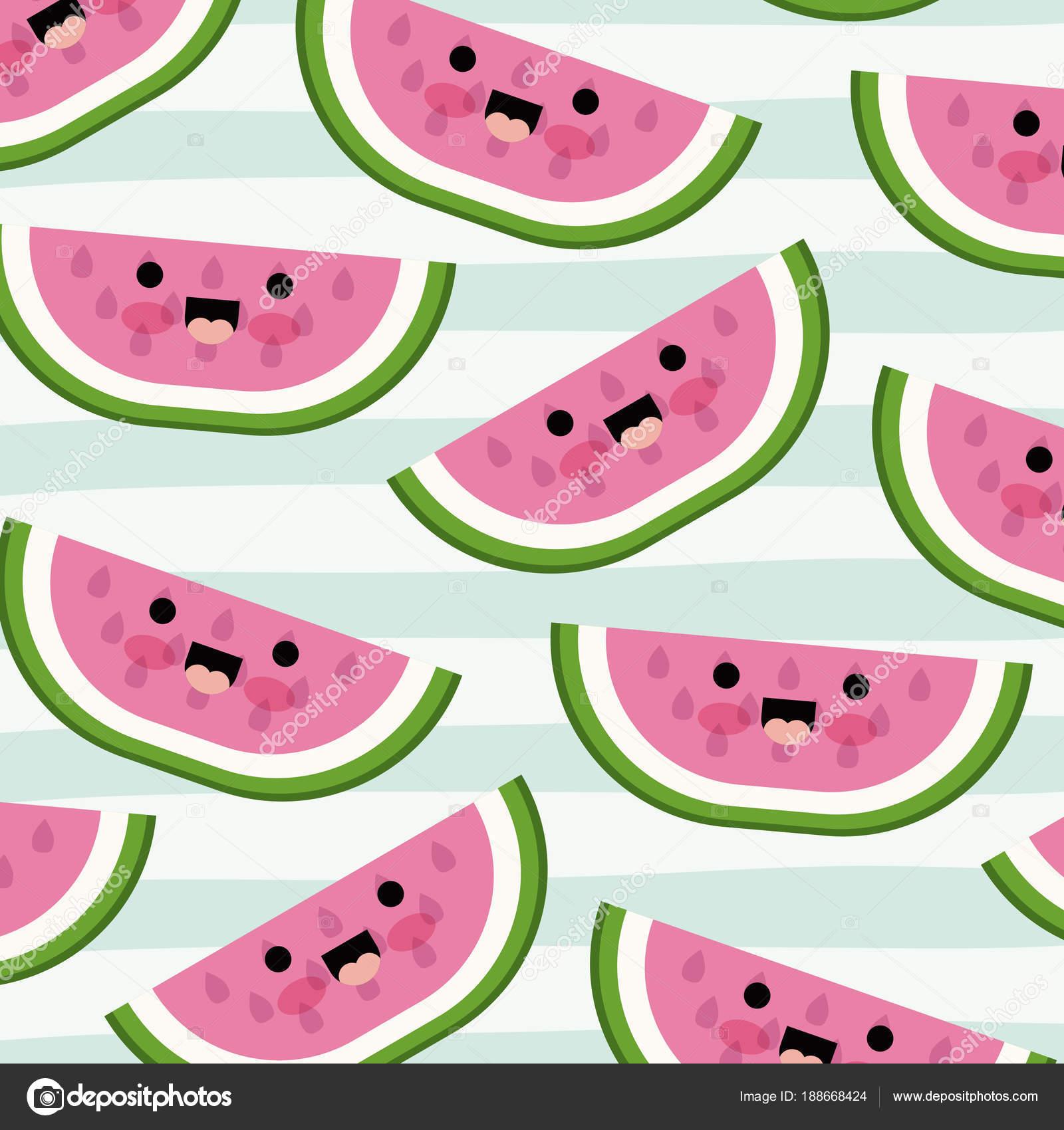watermelon slice kawaii fruits pattern set on decorative lines color