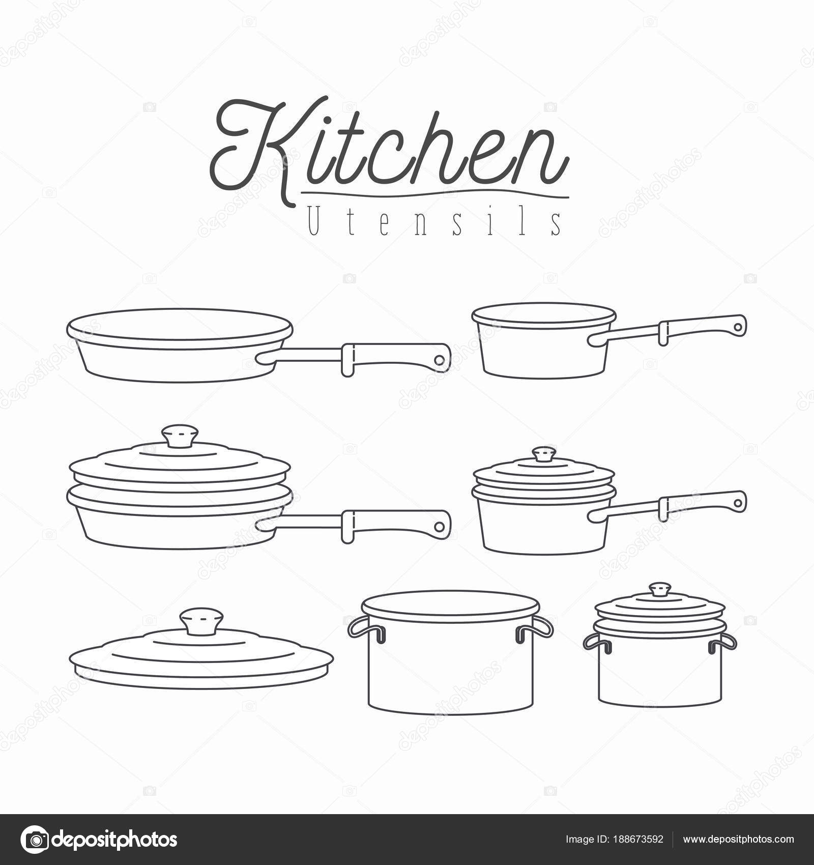 white background with silhouette set of kitchen pots and pans with ...