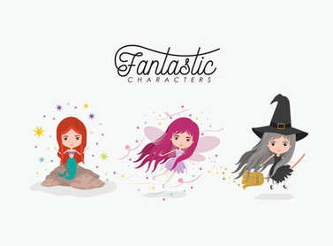 girly fantastic character set of mermaid fairy and witch on white background
