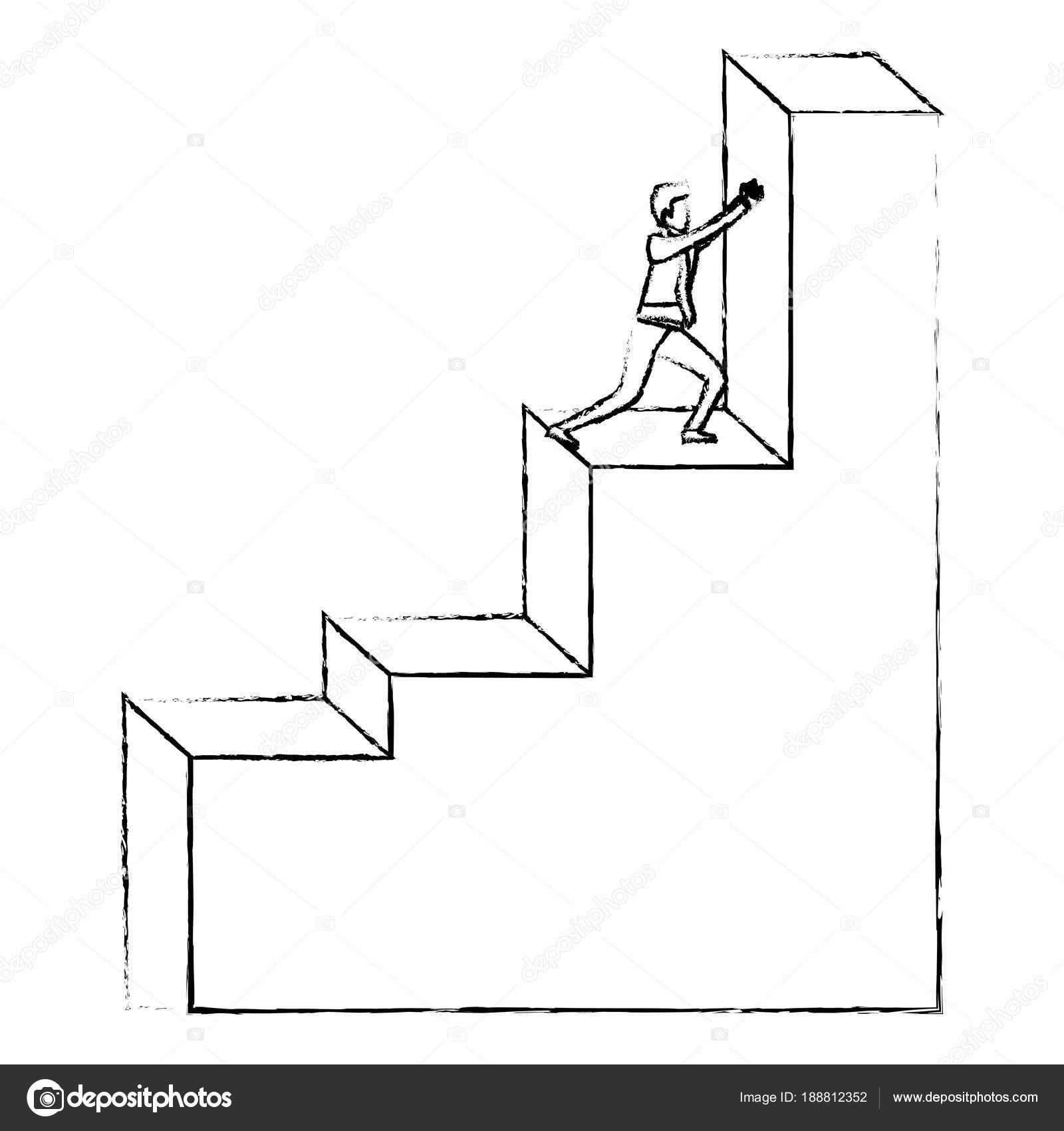 Businessman Pushing Stair Block Structure With Light Bulb In The Top  Silhouette Blurred Monochrome Vector Illustration U2014 Vector By Grgroupstock
