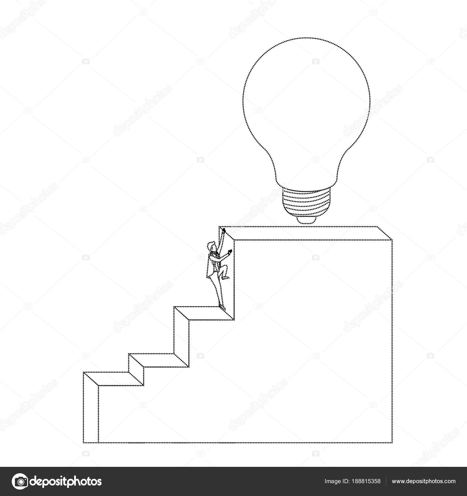 Businessman Climbing Stair Block Structure With Light Bulb In The Top  Monochrome Silhouette Dotted Vector Illustration U2014 Vector By Grgroupstock