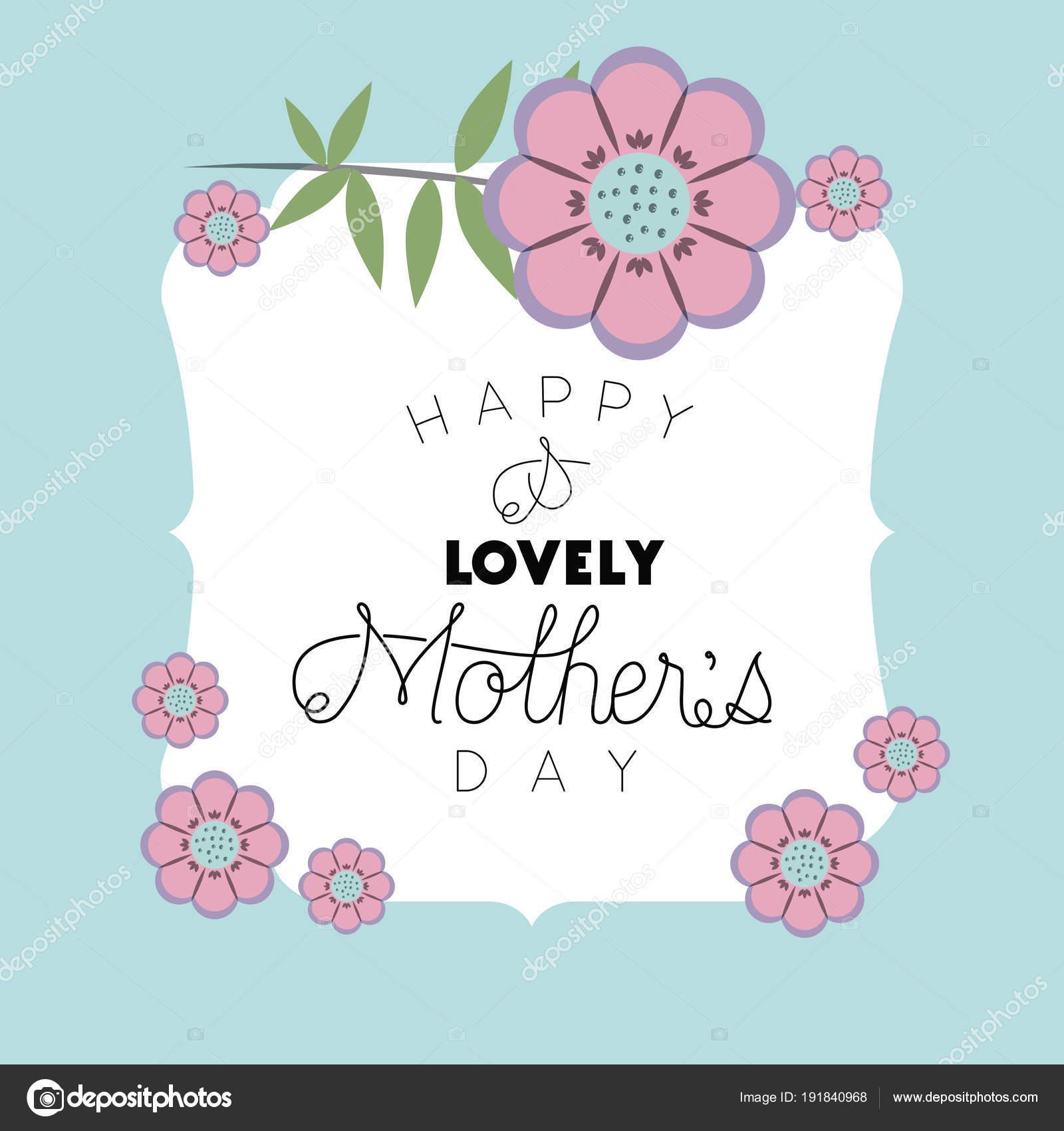 glückliche Mütter Tag Rahmen mit Blumen — Stockvektor © grgroupstock ...